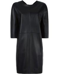 Robe droite en cuir noire Maison Margiela