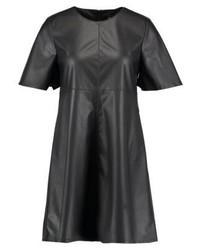 Robe droite en cuir noire Only