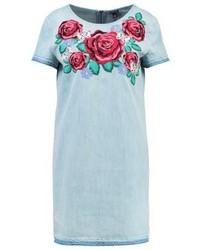 Robe droite en denim à fleurs bleue True Religion