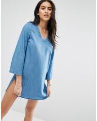 Robe droite en denim bleu clair Only