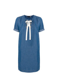 Robe droite en denim bleue Love Moschino