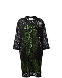 Robe droite en dentelle à fleurs noire Maison Margiela