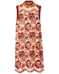 Robe droite en dentelle à fleurs orange Burberry