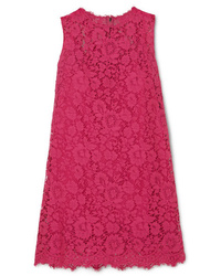 Robe droite en dentelle fuchsia Dolce & Gabbana