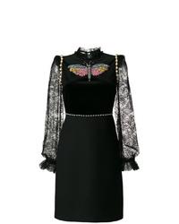 Robe droite en dentelle noire Gucci