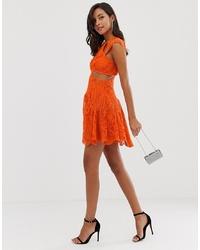 Robe droite en dentelle orange ASOS DESIGN