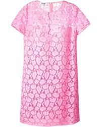 Robe droite en dentelle rose