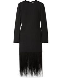 Robe droite en laine à franges noire Givenchy