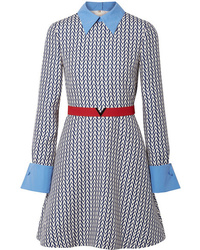 Robe droite en laine imprimée bleue Valentino