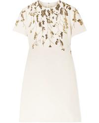 Robe droite en laine ornée beige Valentino