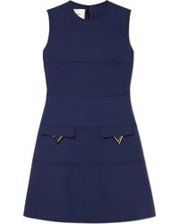 Robe droite en laine ornée bleu marine Valentino