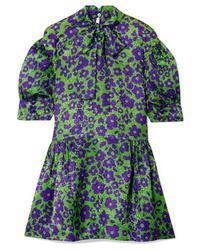 Robe droite en soie à fleurs verte Miu Miu