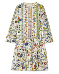 Robe droite en soie imprimée blanche Tory Burch
