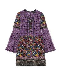 Robe droite en soie imprimée cachemire violette Anna Sui