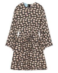 Robe droite en soie imprimée noire Prada
