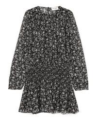 Robe droite en soie imprimée noire Saint Laurent