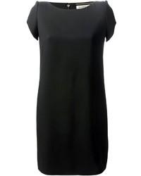 Robe droite en soie noire
