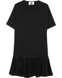 Robe droite en soie noire Topshop
