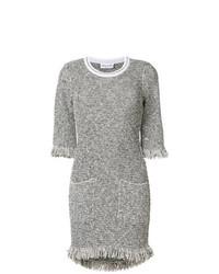 Robe droite en tweed grise