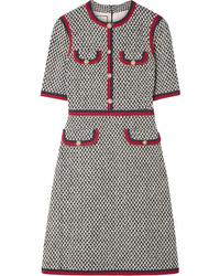 Robe droite en tweed ornée grise Gucci