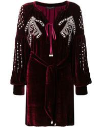Robe droite en velours bordeaux
