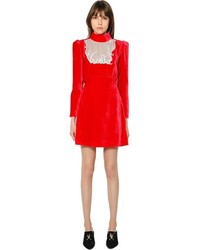 Robe droite en velours rouge