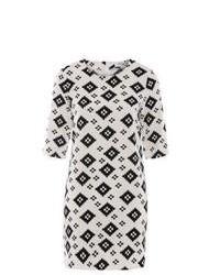 Robe droite imprimée blanche et noire