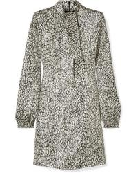 Robe droite imprimée léopard beige Saint Laurent