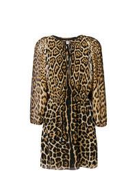 Robe droite imprimée léopard marron clair