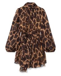 Robe droite imprimée léopard marron Dolce & Gabbana