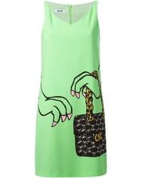 Robe droite imprimée verte Moschino Cheap & Chic