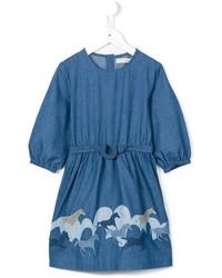 Robe en denim imprimée bleue
