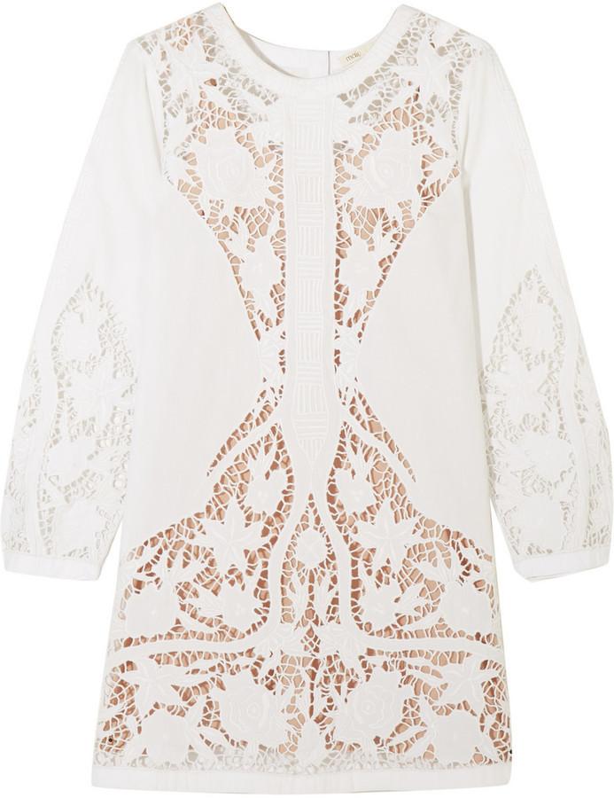 robe maje en dentelle brodée blanche