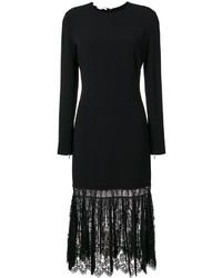 Robe en dentelle plissée noire Stella McCartney