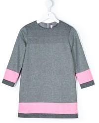 Robe en laine à rayures horizontales grise Il Gufo