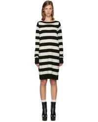 Robe en laine à rayures horizontales noire Marc Jacobs