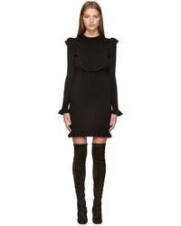 Robe en laine en tricot noire Fendi