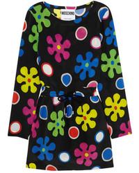 Robe en soie à fleurs noire Moschino