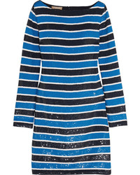 Robe en soie à rayures horizontales bleue Michael Kors