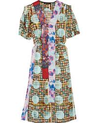 Robe en soie imprimée bleu clair Marc Jacobs