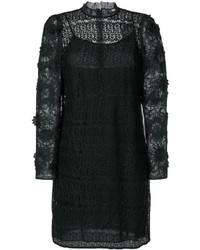 Robe en tulle à fleurs noire Michael Kors