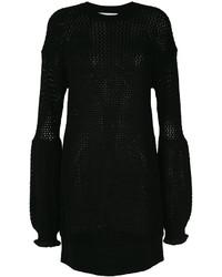 Robe en tulle en tricot noire MCQ