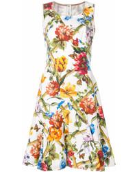 Robe évasée à fleurs blanche Dolce & Gabbana