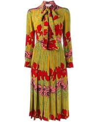 Robe évasée à fleurs jaune Gucci