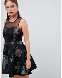 Robe évasée à fleurs noire New Look