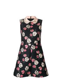 Robe évasée à fleurs noire RED Valentino