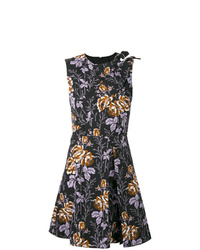 Robe évasée à fleurs noire Victoria Beckham