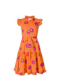 Robe évasée à fleurs orange La Doublej