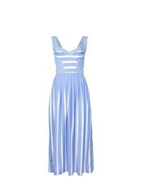 Robe évasée à rayures verticales bleu clair Ermanno Scervino