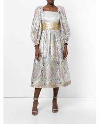 Robe évasée argentée William Vintage